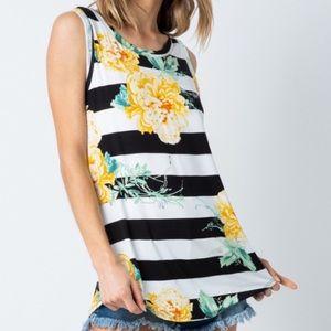 Yellow Floral Black Stripe Sleeveless Tank Top!